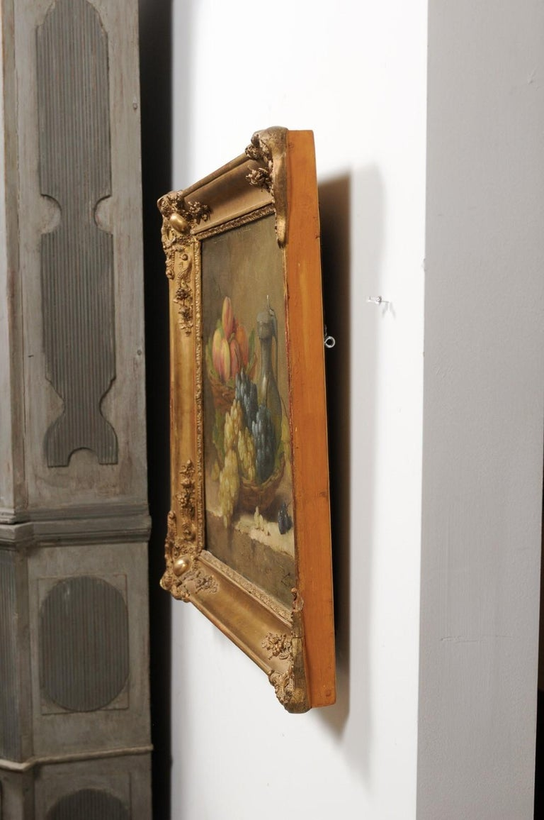 Italian 19th Century Still-Life Oil Painting Depicting Fruits, in Giltwood Frame For Sale 5