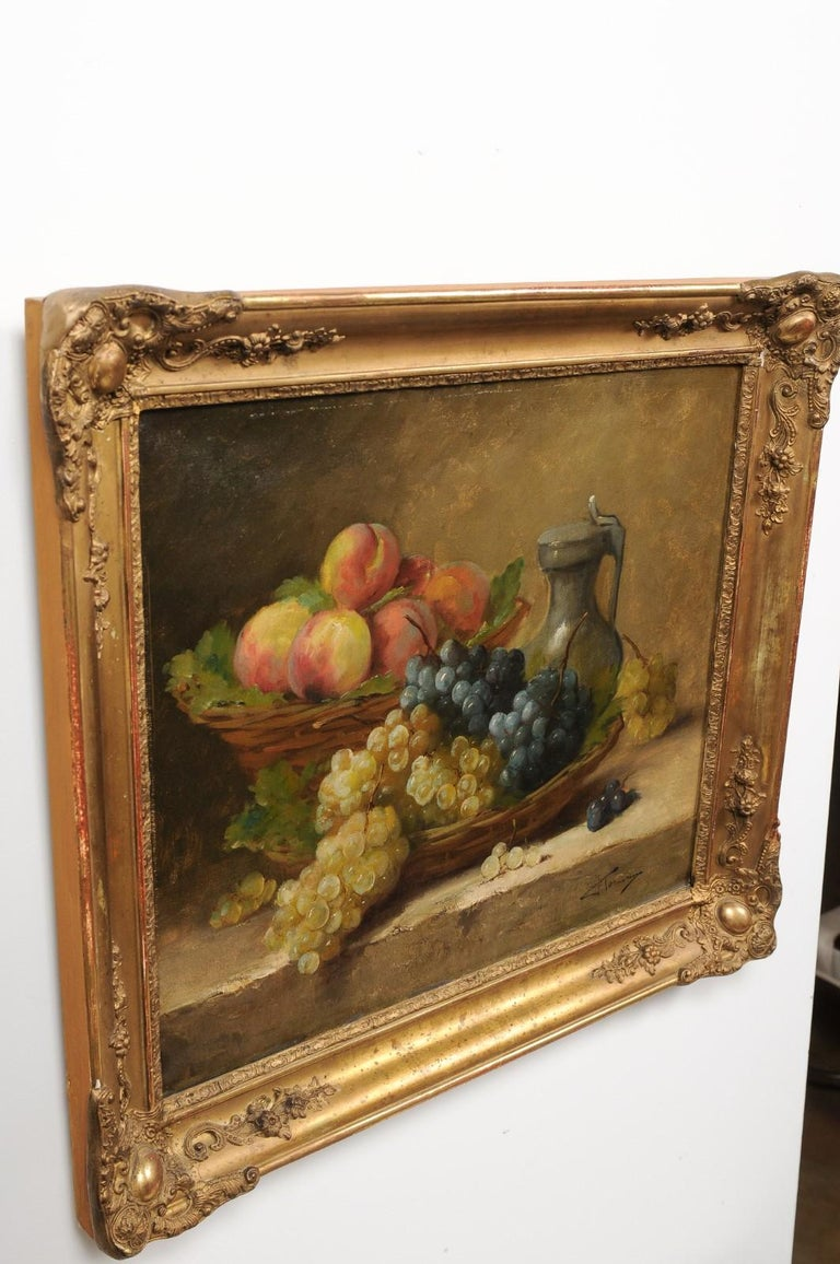 Italian 19th Century Still-Life Oil Painting Depicting Fruits, in Giltwood Frame For Sale 6