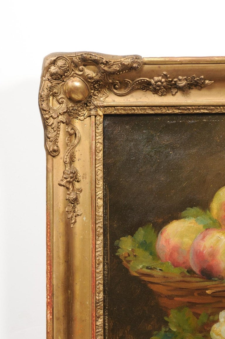 Italian 19th Century Still-Life Oil Painting Depicting Fruits, in Giltwood Frame In Good Condition For Sale In Atlanta, GA