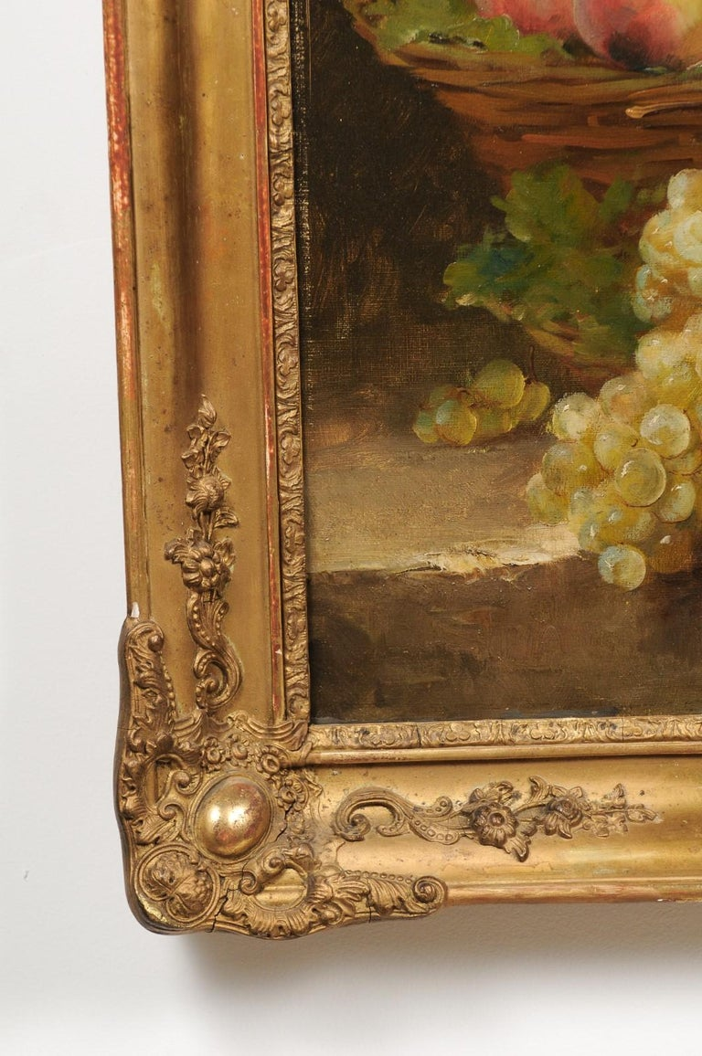 Canvas Italian 19th Century Still-Life Oil Painting Depicting Fruits, in Giltwood Frame For Sale