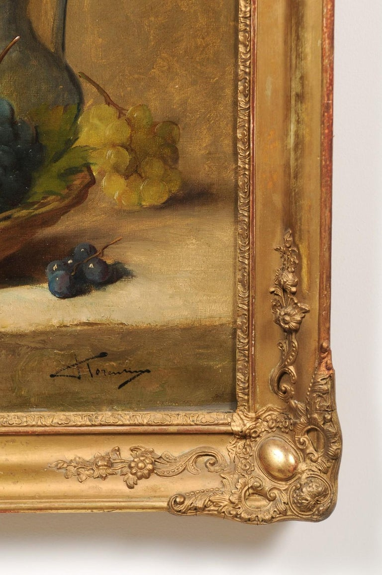 Italian 19th Century Still-Life Oil Painting Depicting Fruits, in Giltwood Frame For Sale 2