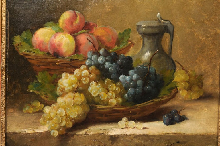 Italian 19th Century Still-Life Oil Painting Depicting Fruits, in Giltwood Frame For Sale 4