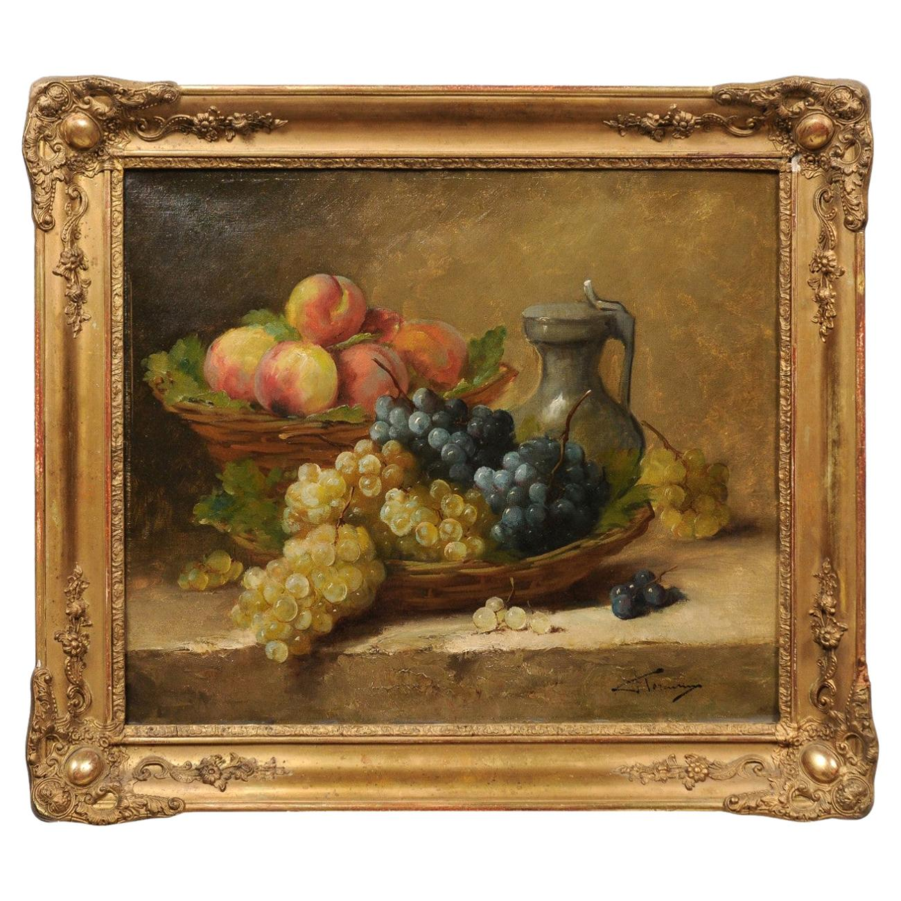 Italian 19th Century Still-Life Oil Painting Depicting Fruits, in Giltwood Frame