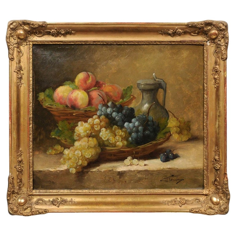 Italian 19th Century Still-Life Oil Painting Depicting Fruits, in Giltwood Frame For Sale