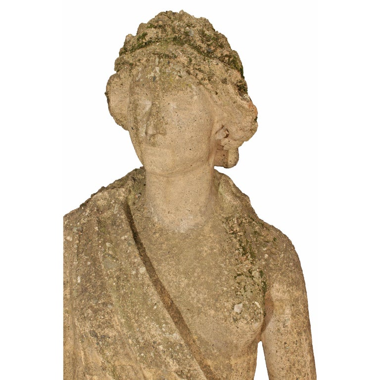 Italian 19th Century Stone Statue of a Classical Female In Good Condition For Sale In West Palm Beach, FL