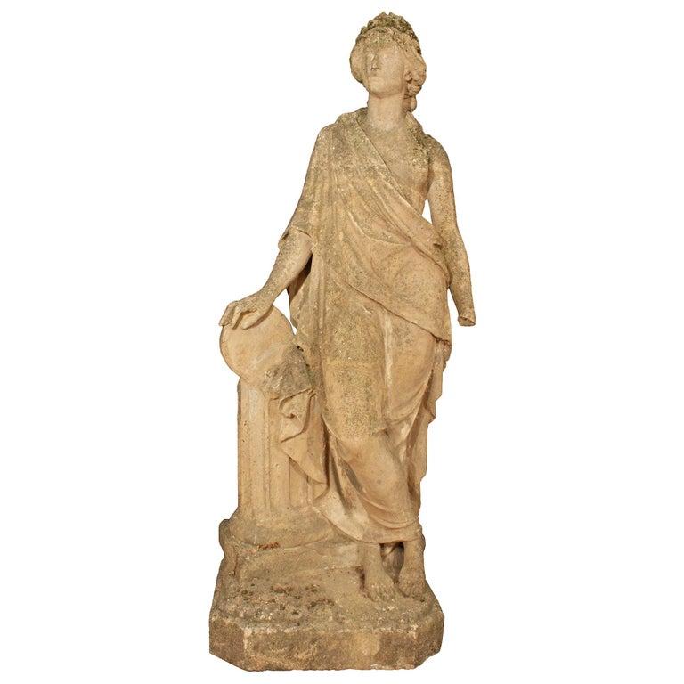 Italian 19th Century Stone Statue of a Classical Female For Sale