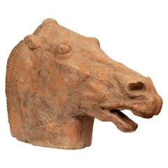 Italian 19th Century Terracotta Horse Head Statue