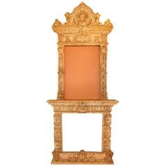 Italian 19th Century Terracotta Fireplace Mantel