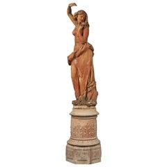 Italian 19th Century Terracotta Statue and Base