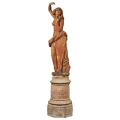 Italian 19th Century Terracotta Statue and Base