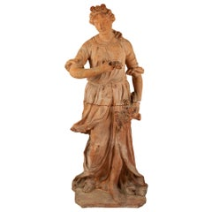 Italian 19th Century Terracotta Statue of a Lady by Carlos Sannini Impruneta