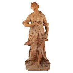 Italian 19th Century Terracotta Statue of a Lady by Carlos Sannini Impruneta