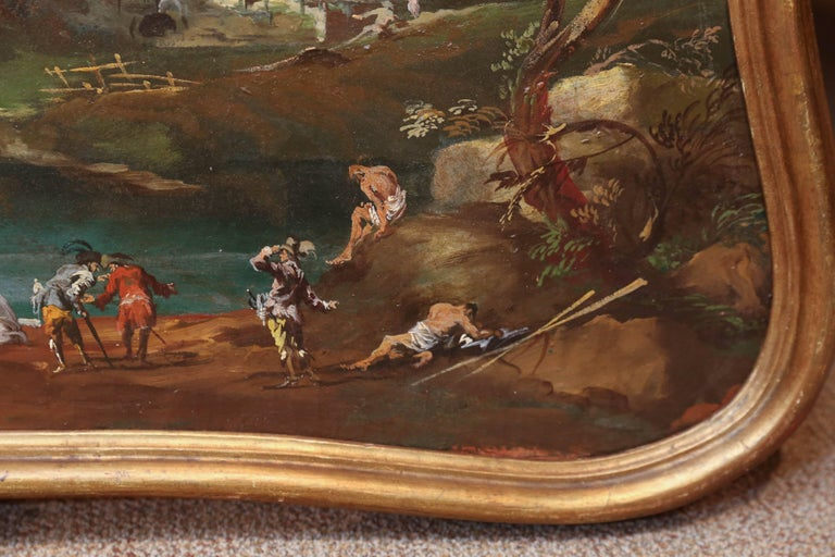 Italian 19th Century Trumeaux / Painting Depicting a Harbor Scene In Excellent Condition For Sale In Houston, TX