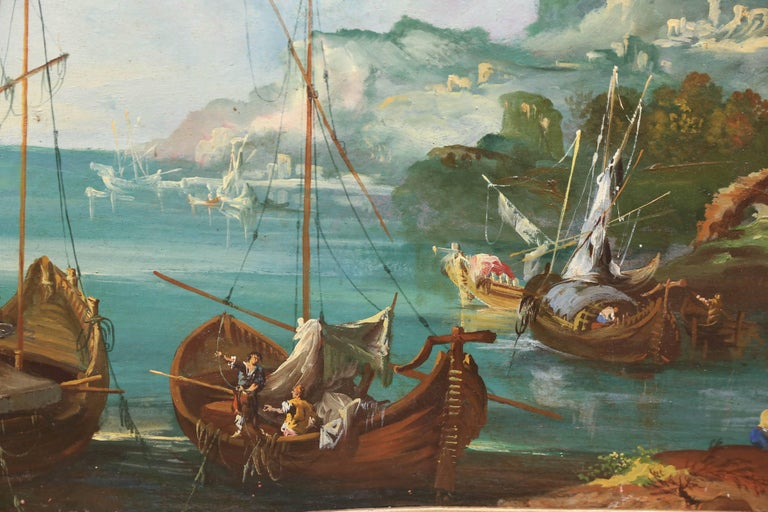 Italian 19th Century Trumeaux / Painting Depicting a Harbor Scene For Sale 1