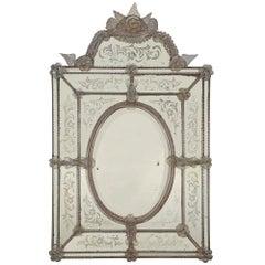 Italian 19th Century Venetian and Murano Glass Triple Framed Mirror