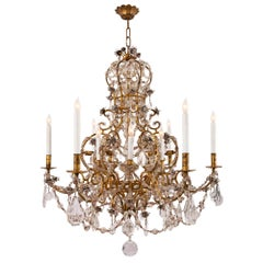 Italian 19th Century Venetian St. Gilt Metal, Crystal and Glass Chandelier