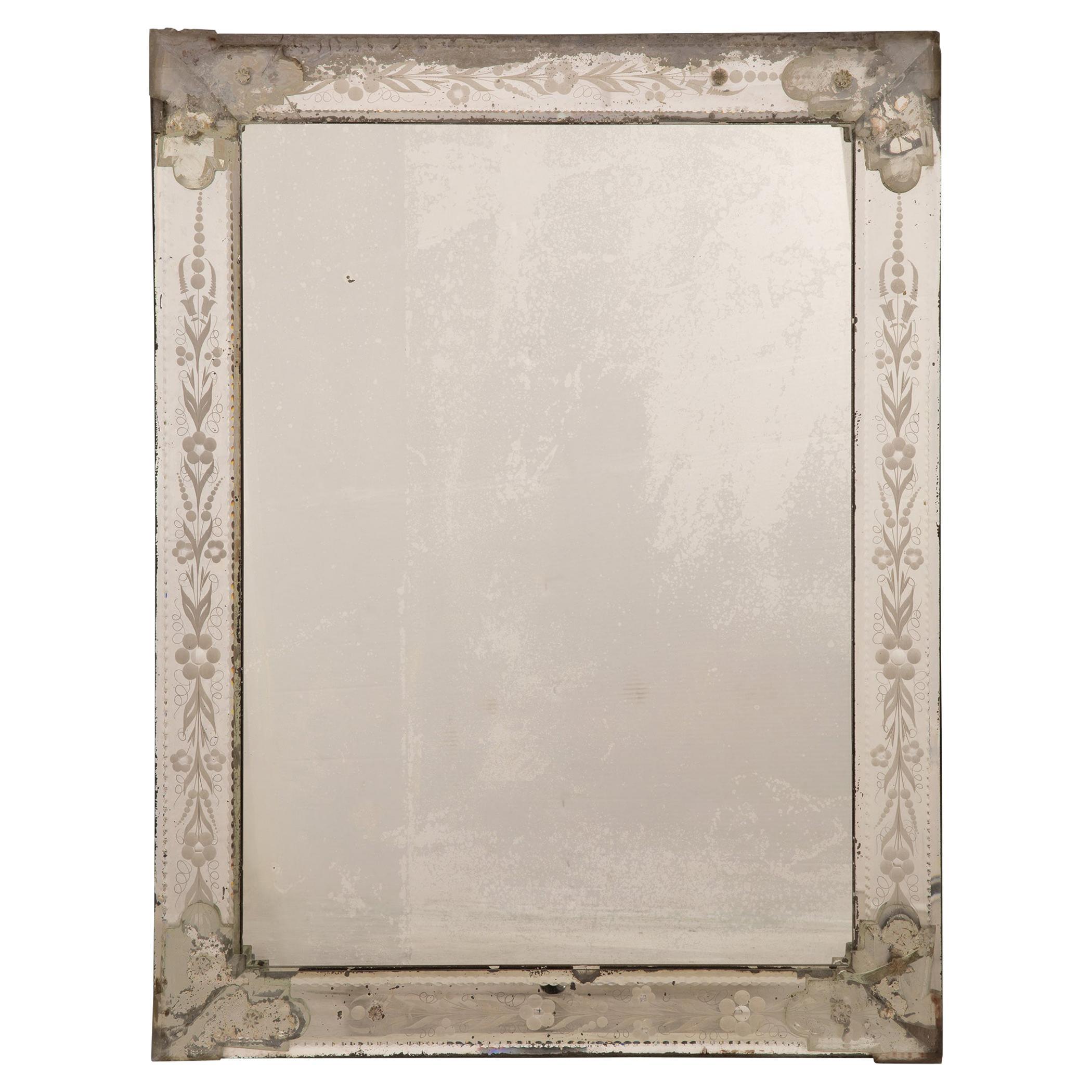 Italian 19th Century Venetian Style Etched Mirror