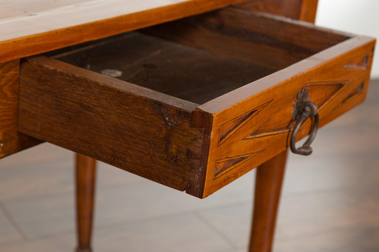 Italian 19th Century Walnut Console Table with Single Drawer and Diamond Motif For Sale 5