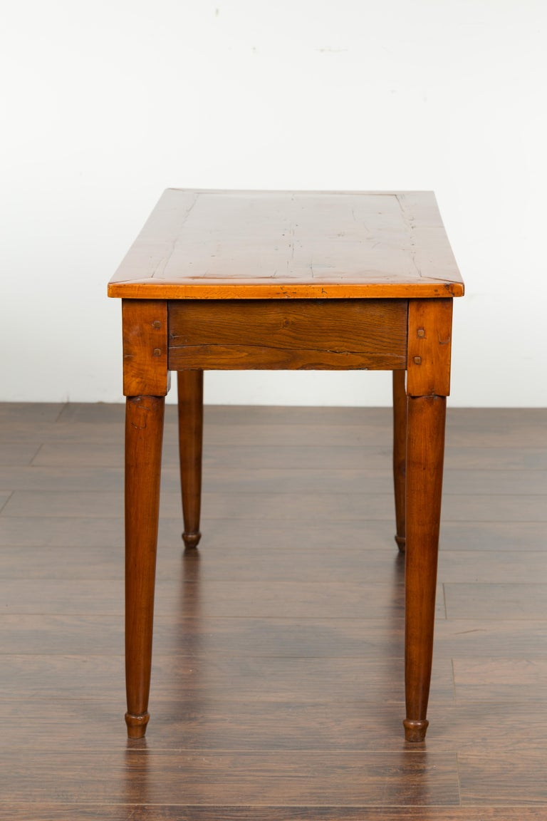 Italian 19th Century Walnut Console Table with Single Drawer and Diamond Motif For Sale 6