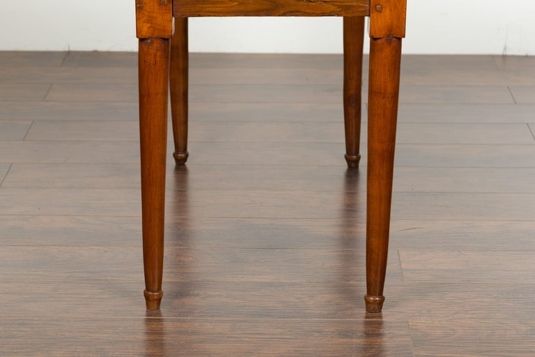 Italian 19th Century Walnut Console Table with Single Drawer and Diamond Motif For Sale 7