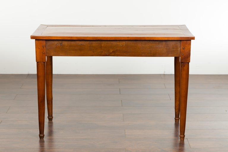 Italian 19th Century Walnut Console Table with Single Drawer and Diamond Motif For Sale 8