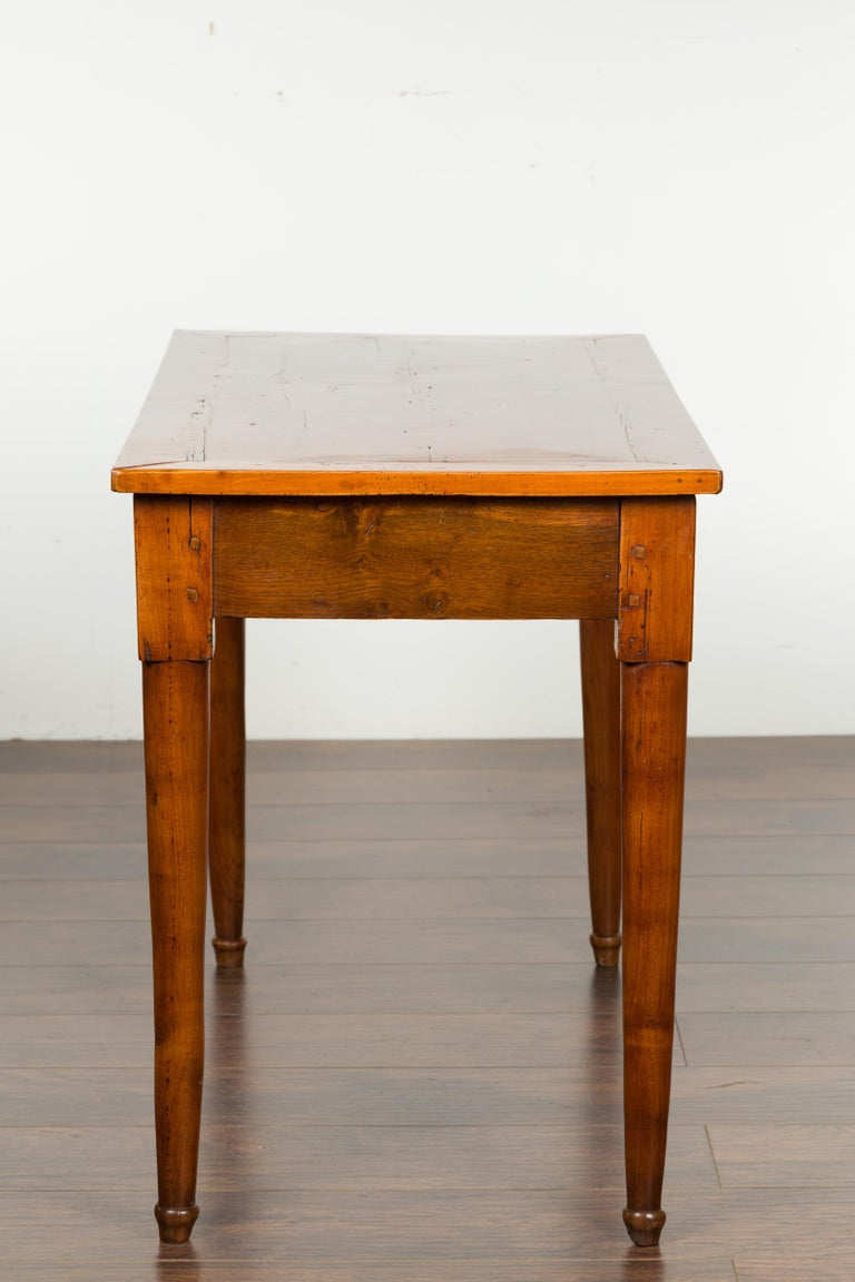 Italian 19th Century Walnut Console Table with Single Drawer and Diamond Motif For Sale 9