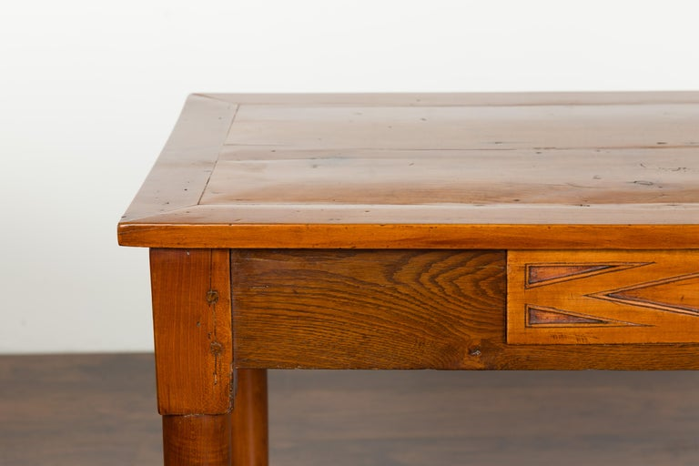 Carved Italian 19th Century Walnut Console Table with Single Drawer and Diamond Motif For Sale
