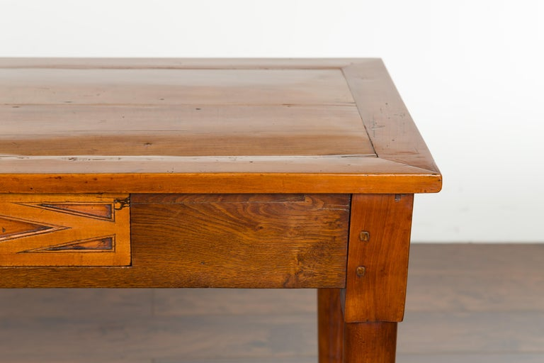 Italian 19th Century Walnut Console Table with Single Drawer and Diamond Motif In Good Condition For Sale In Atlanta, GA