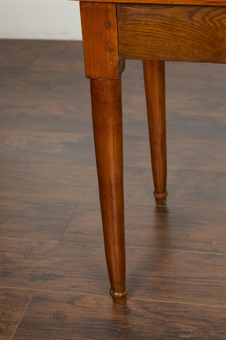 Italian 19th Century Walnut Console Table with Single Drawer and Diamond Motif For Sale 1