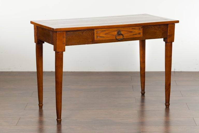 Italian 19th Century Walnut Console Table with Single Drawer and Diamond Motif For Sale 3