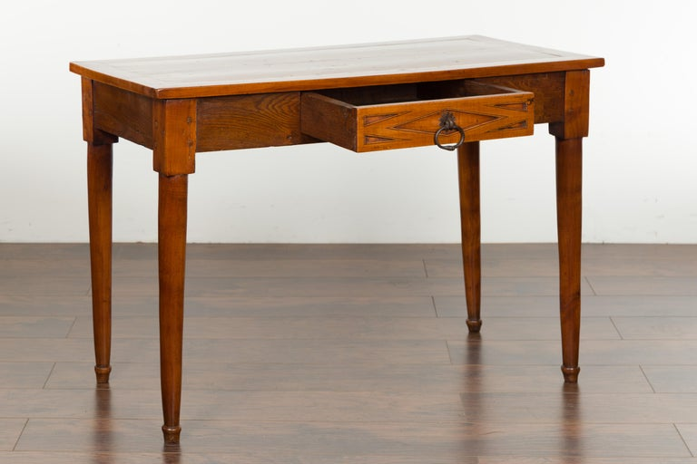 Italian 19th Century Walnut Console Table with Single Drawer and Diamond Motif For Sale 4