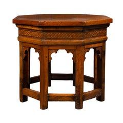 Italian 19th Century Walnut Octagonal Table with Inlaid Trompe-l'Œil Motifs