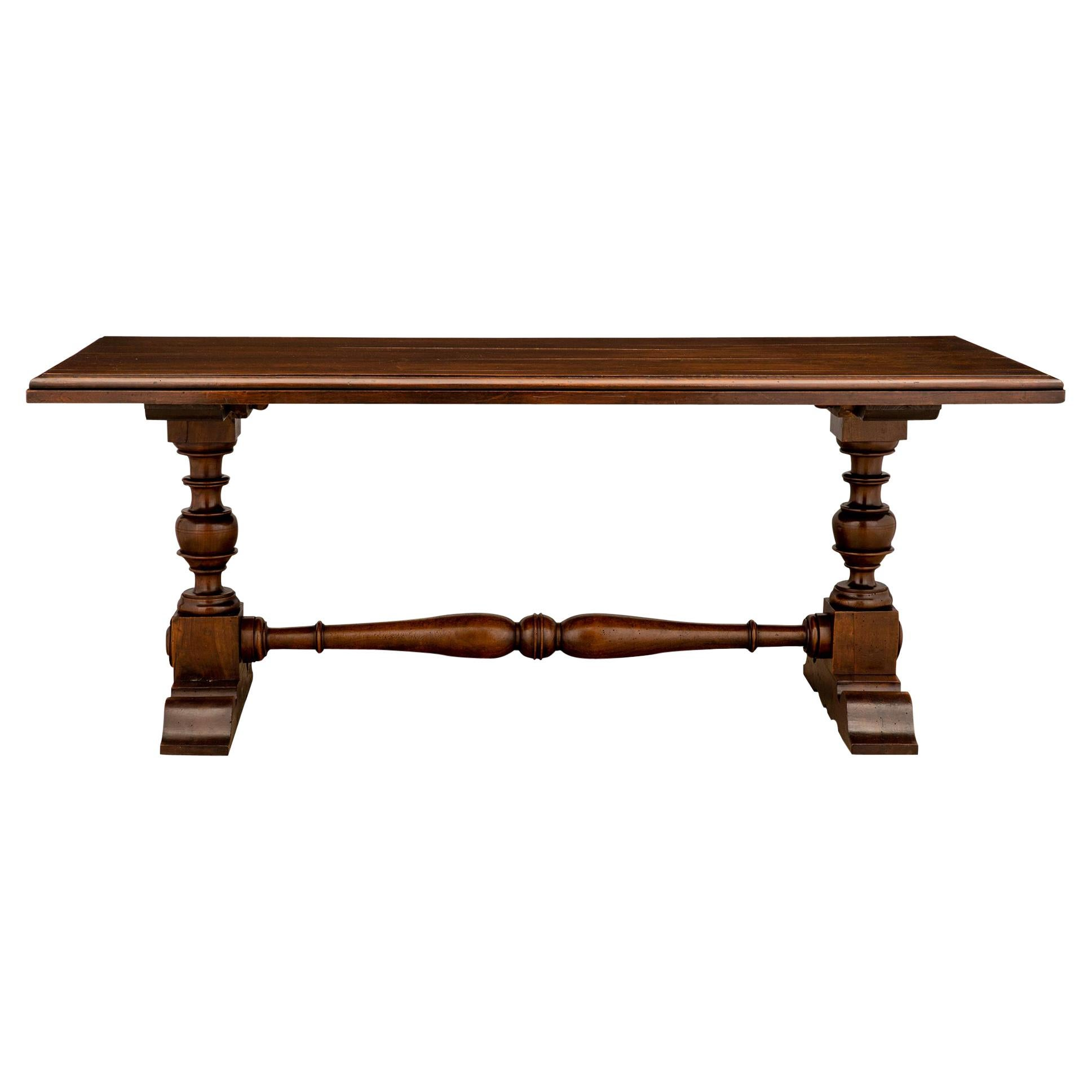 Italian 19th Century Walnut Refractory Dining Table