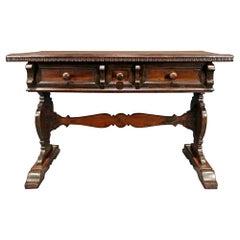 Italian 19th Century Walnut Trestle Table