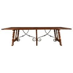 Italian 19th Century Walnut Trestle Table from Tuscany
