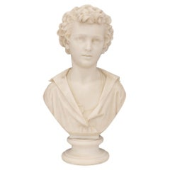 Italian 19th Century White Carrara Marble Bust of a Young Boy