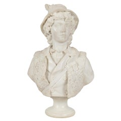 Italian 19th Century White Carrara Marble Bust of a Young Hunter