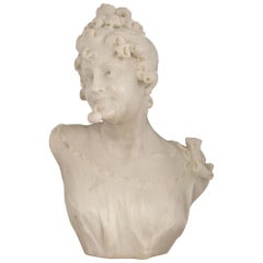 Italian 19th Century White Carrara Marble Bust of a Young Maiden