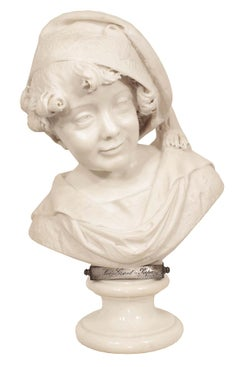 Italian 19th Century White Carrara Marble Bust Signed, G. Branca J Milano, 1881