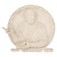 Italian 19th Century White Carrara Marble Decorative Wall Plaque of a Pope