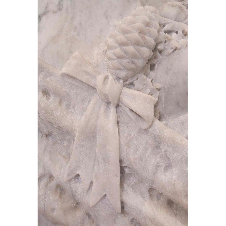Italian 19th Century White Carrara Marble Freestanding Statue of a Garden Maiden For Sale 4
