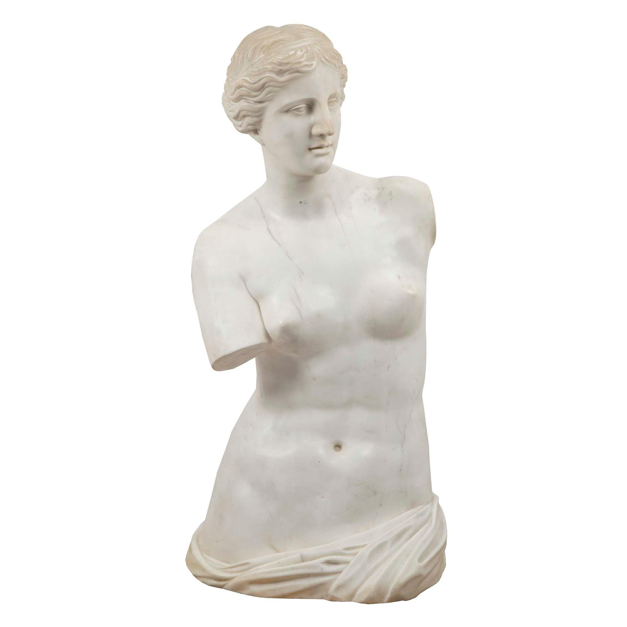Italian 19th Century White Carrara Marble of Venus De Milo