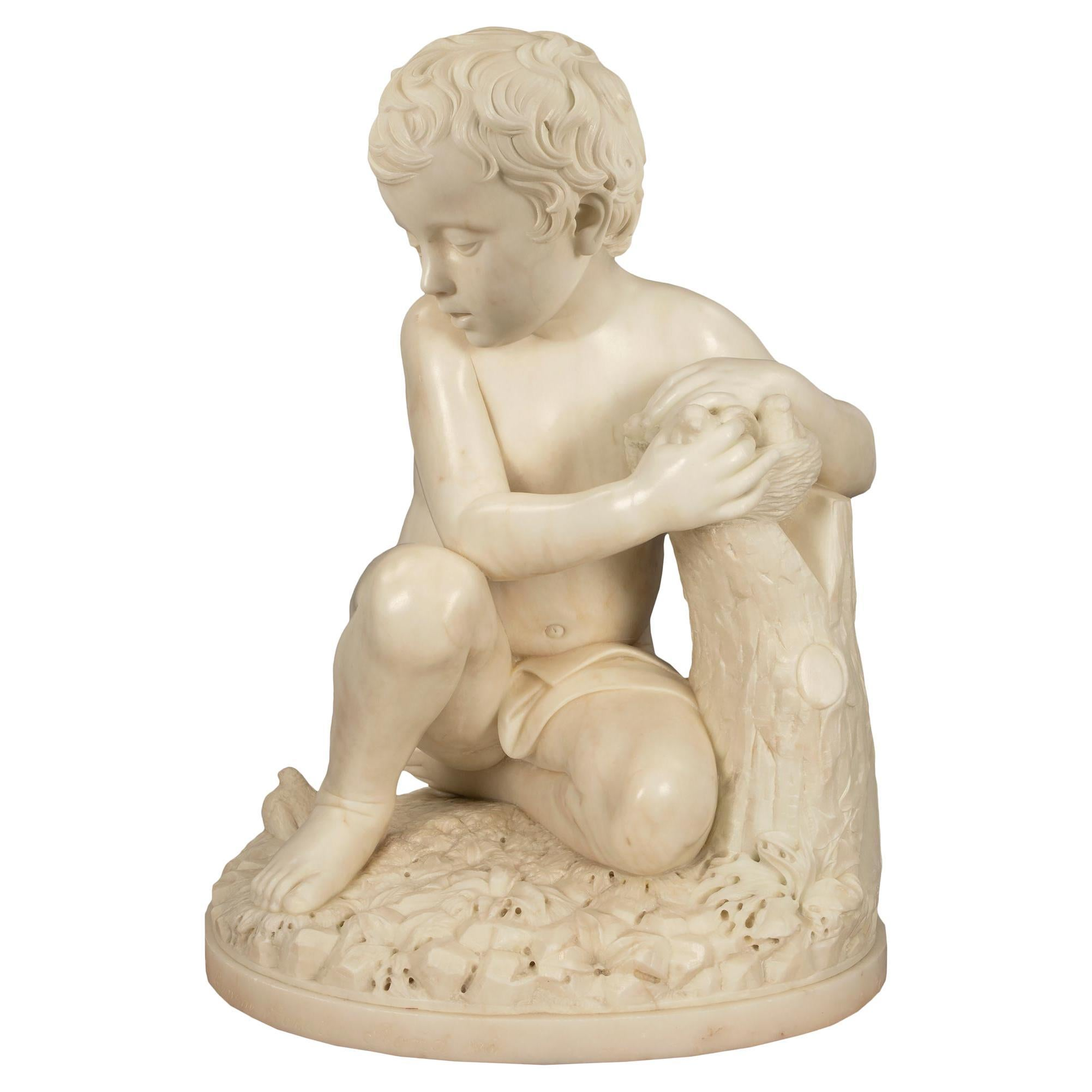 Italian 19th Century White Carrara Marble Signed Statue of a Young Boy