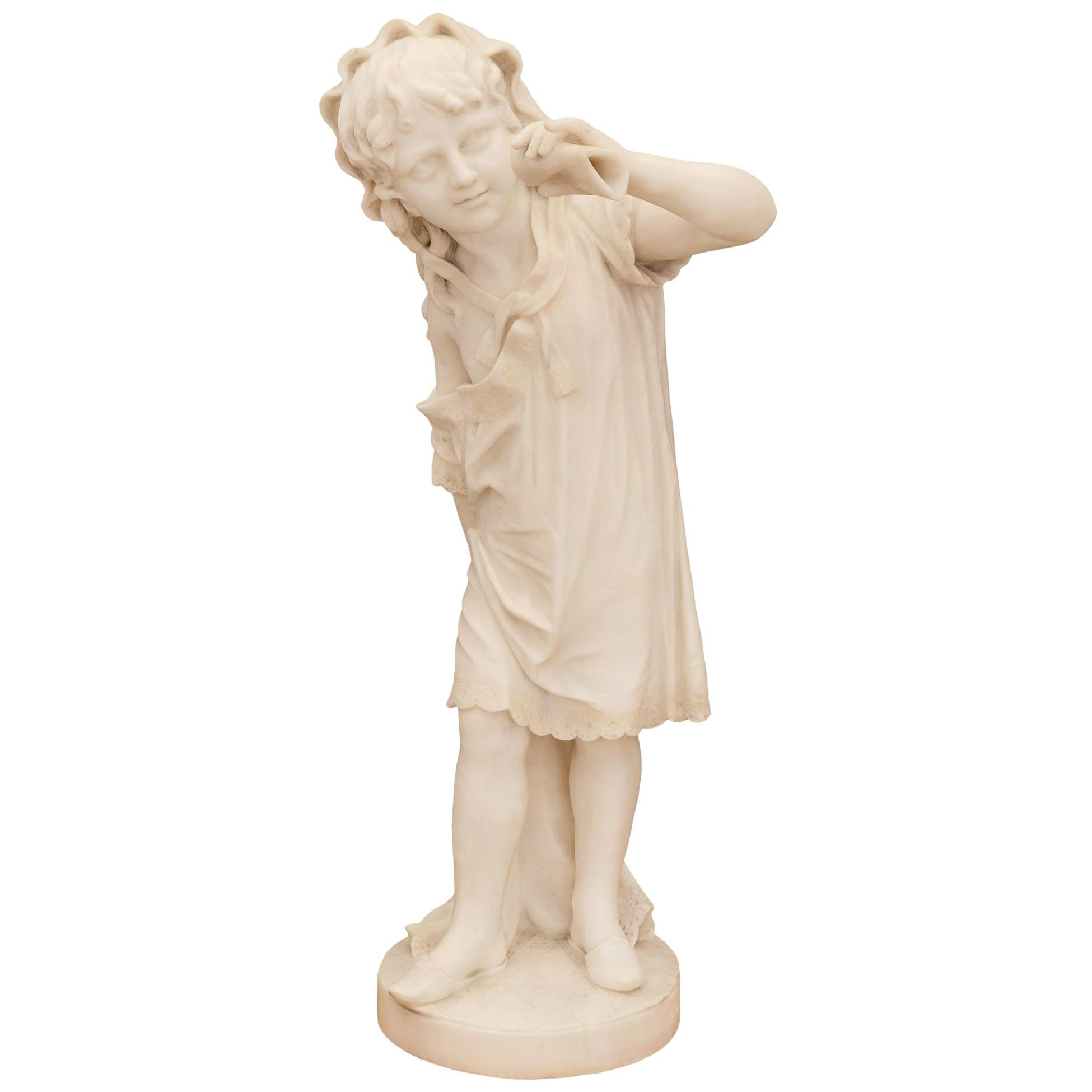 Italian 19th Century White Carrara Marble Statue