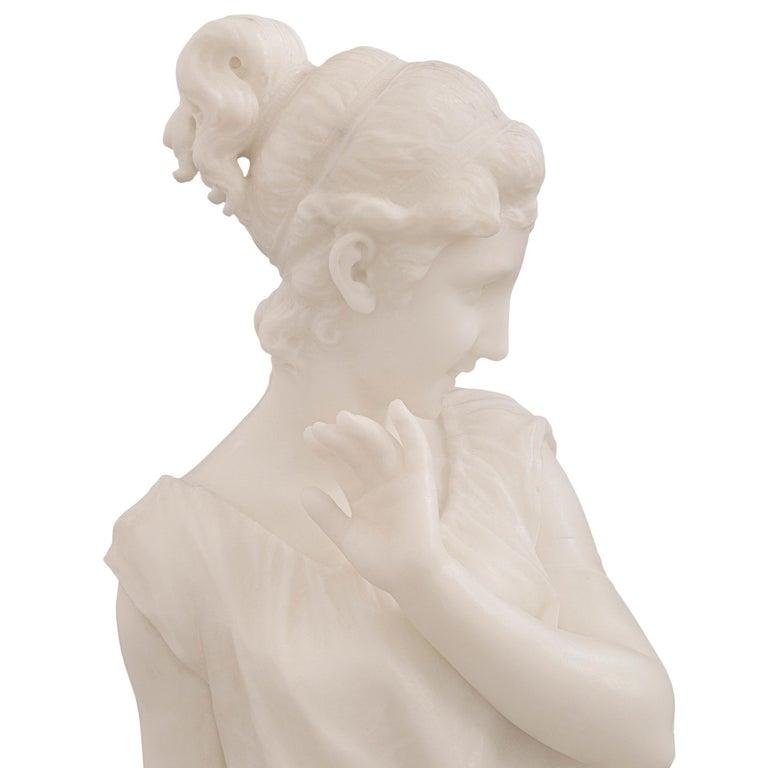 Italian 19th Century White Carrara Marble Statue of a Beautiful Maiden For Sale 3