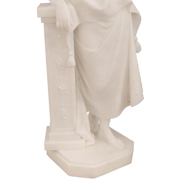 Italian 19th Century White Carrara Marble Statue of a Beautiful Maiden For Sale 4