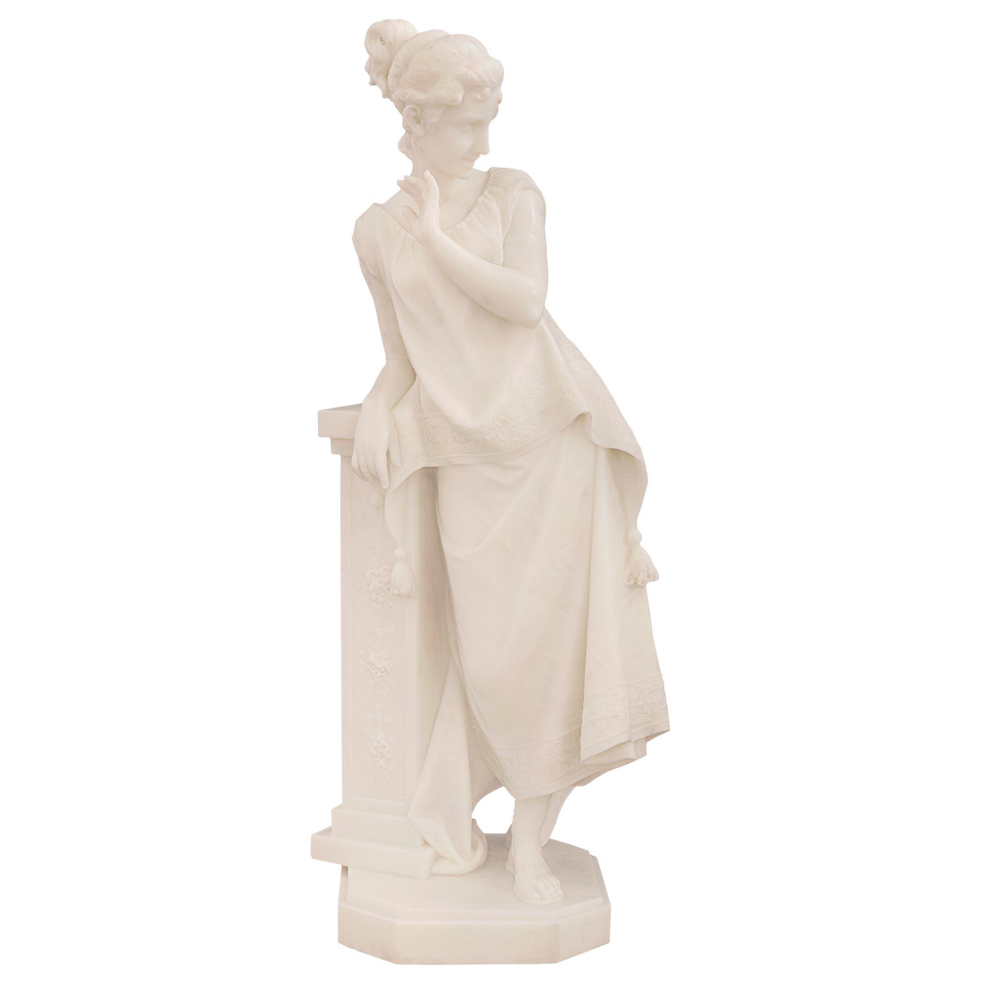 Italian 19th Century White Carrara Marble Statue of a Beautiful Maiden
