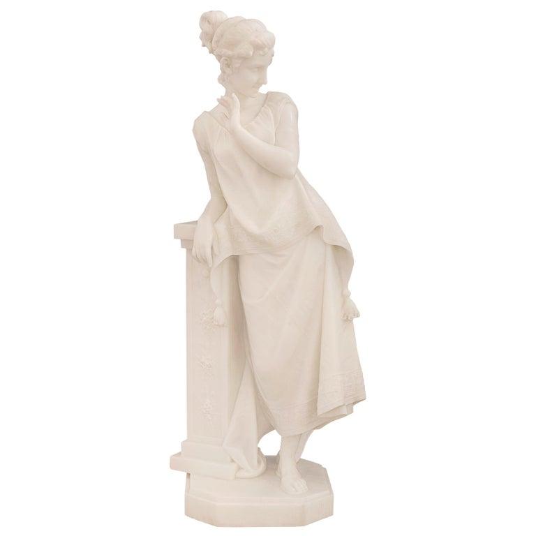 Italian 19th Century White Carrara Marble Statue of a Beautiful Maiden For Sale