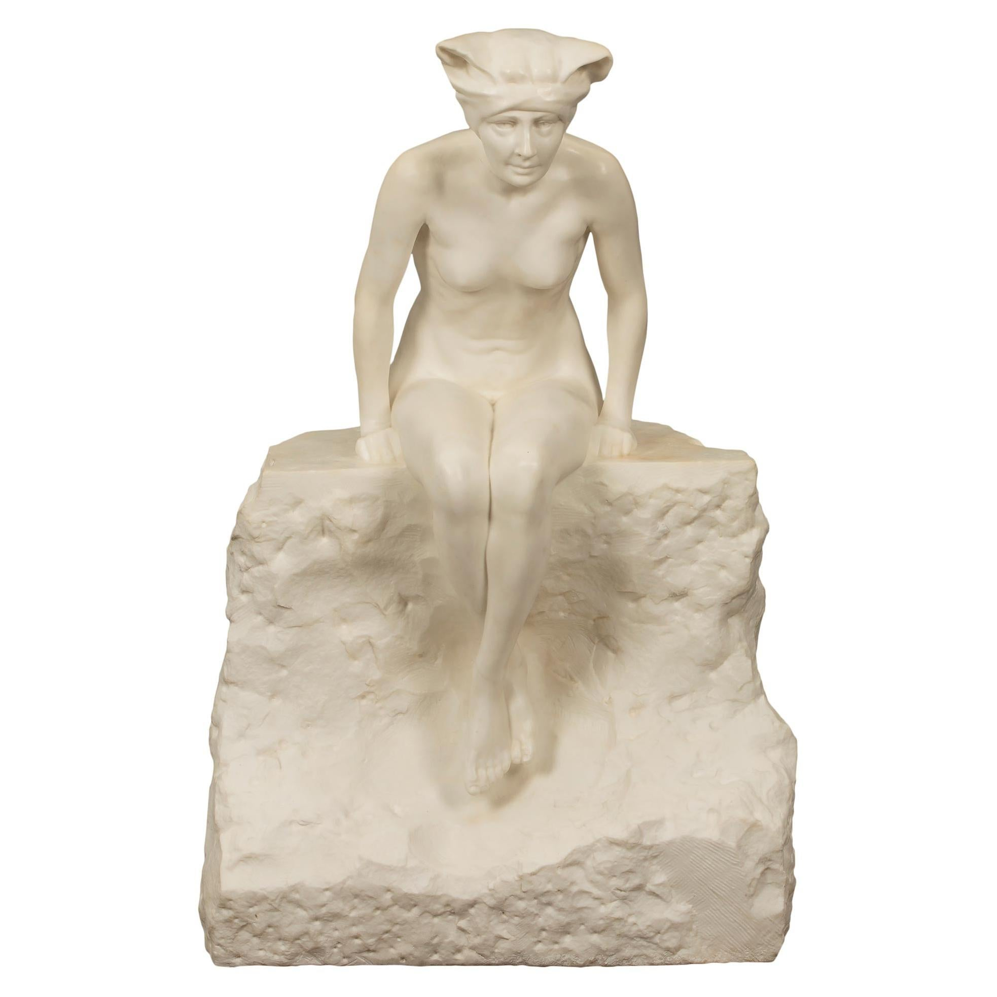 Italian 19th Century White Carrara Marble Statue of a Maiden Sitting on a Rock