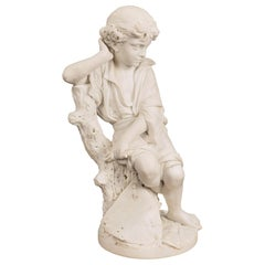 Italian 19th Century White Carrara Marble Statue of a Young Benjamin Franklin